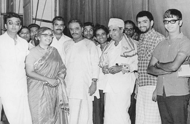 MGR with 'Cho' Ramaswamy, Y.G. Mahendran in Their Stage Play Troops