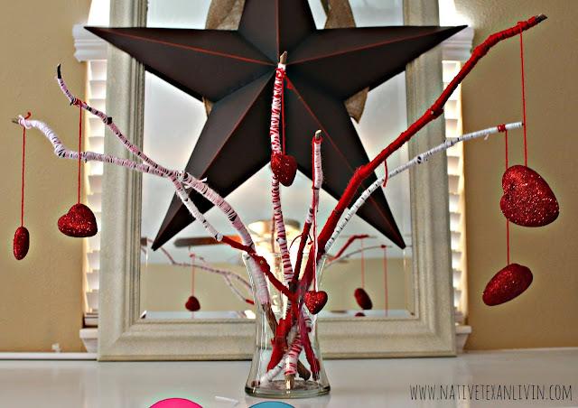 Easy yarn wrapped twigs for an easy mantel DIY