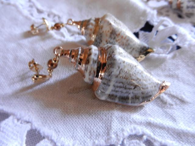 gold shell drop earring
