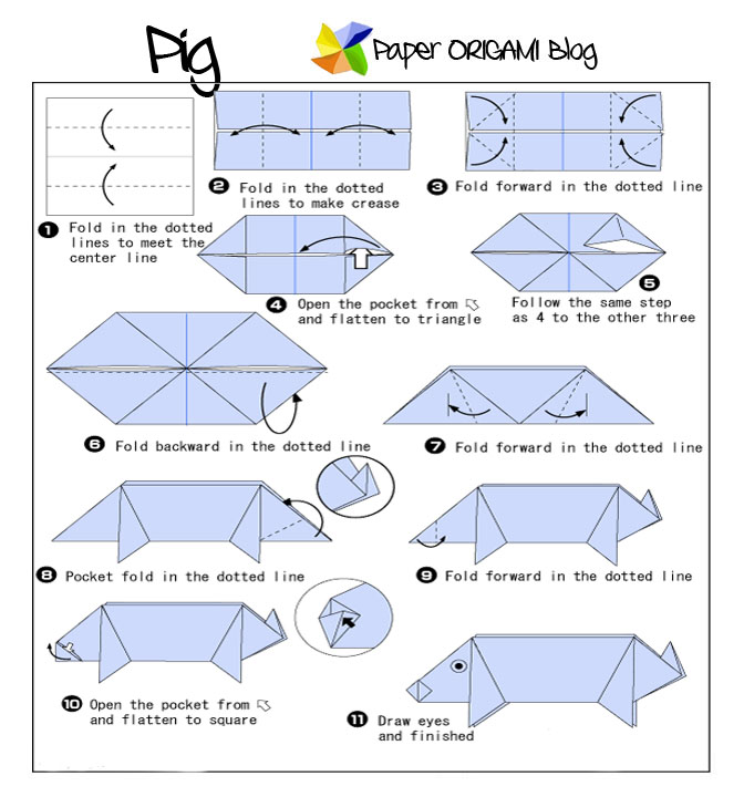 animals origami pig paper origami guide