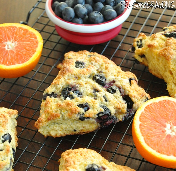 Fluffy Honey-Glazed Orange Blueberry Scones