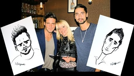 Ingrid with Hugo and Spencer of Made in Chelsea and their caricatures