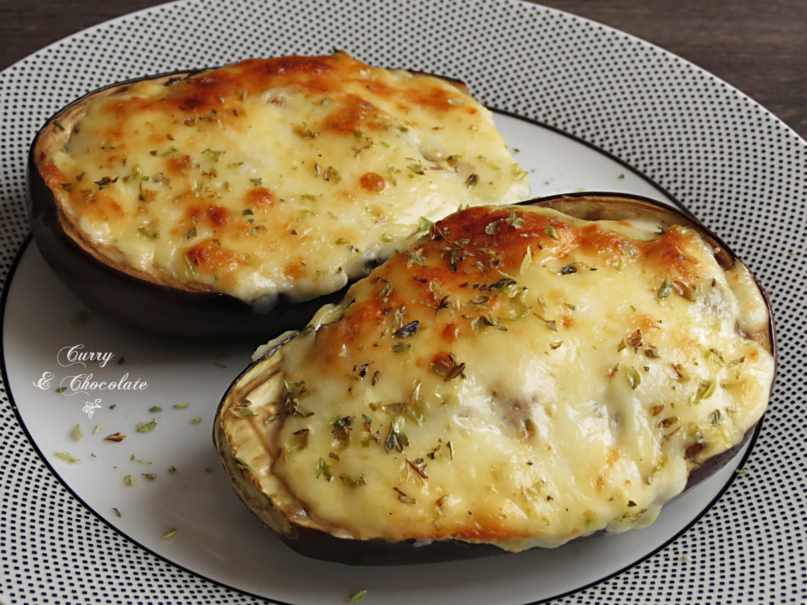 Berenjenas rellenas de champiñones y queso – Mushroom and cheese stuffed eggplants