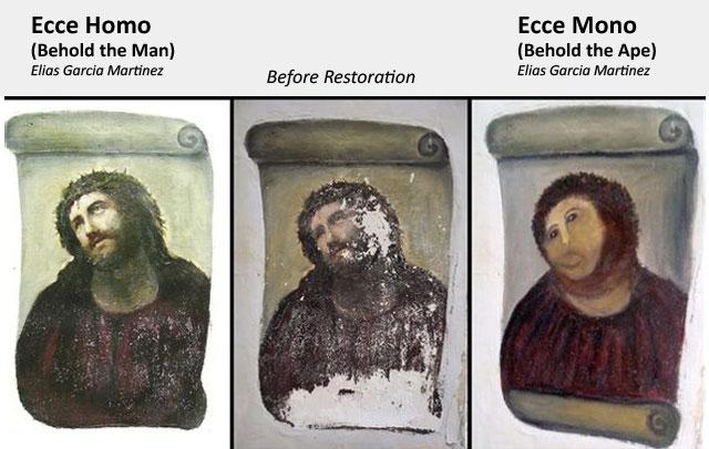 antes y después ecce homo, ecce mono, cecilia gimenez