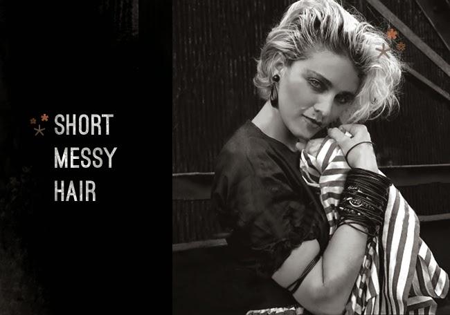 80's Madonna Fashion - short messy blonde hair