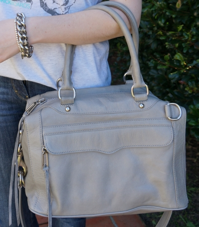 Away From Blue Rebecca Minkoff mini MAB in soft grey silver hardware