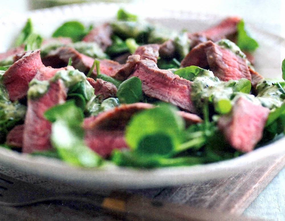 Beef Salad with Watercress and Basil Sauce: Here is a classic salad of fried beef steak tossed with watercress leaves that's served topped with a basil and mustard sauce (rather like a pest). This works as a salad but also makes a great sandwich filling.