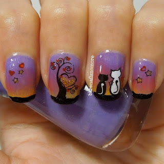 Cats under tree in the evening using nail decals from KKCenterHK