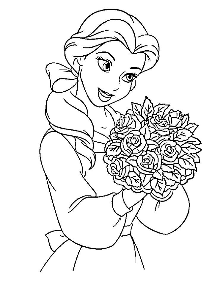 Beauty Princess Belle Smile Coloring Sheet For Kids