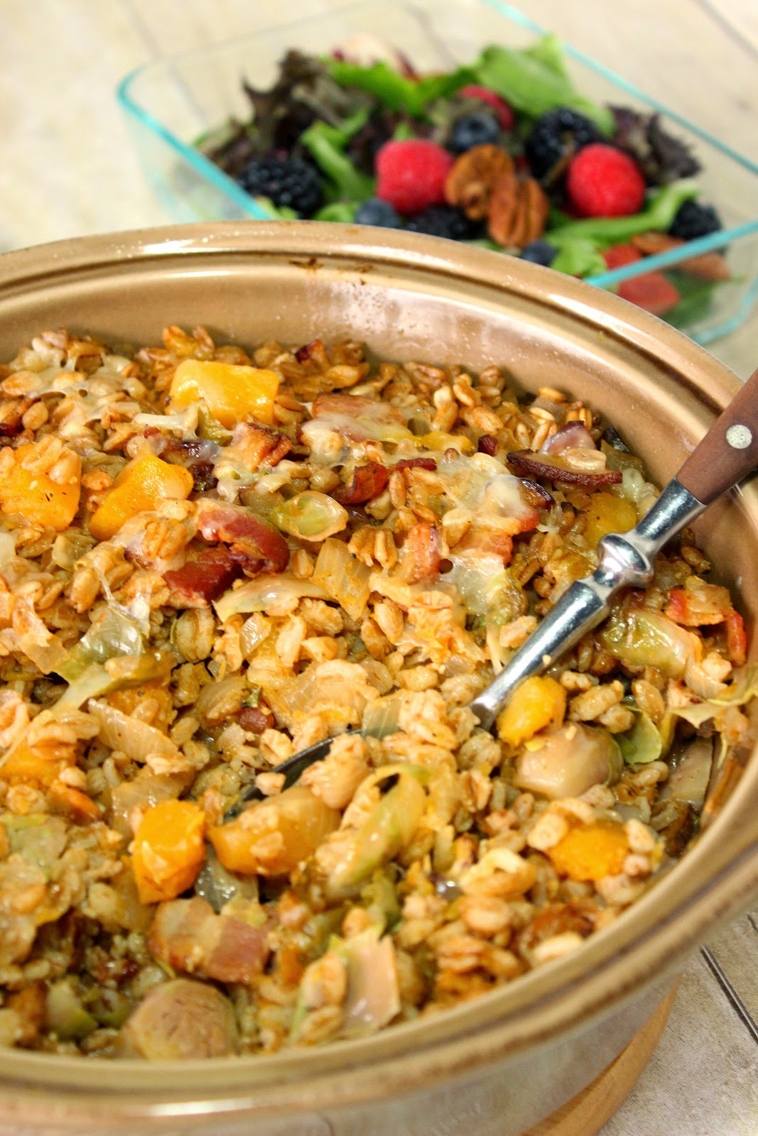 Baked Farro with Butternut Squash and Brussels Sprouts Recipe