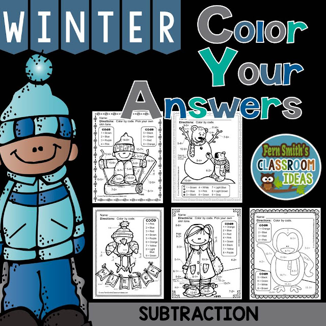 Fern Smith's Classroom Ideas Winter Fun! Basic Subtraction Facts - Color Your Answers Printables at TeacherspayTeachers, TpT.