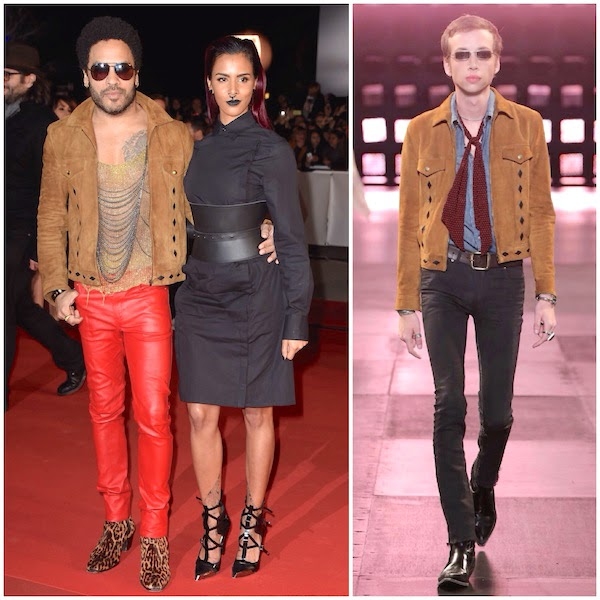 Shy'm with Lenny Kravitz wearing Saint Laurent by Hedi Slimane Spring Summer 2015 brown suede leather jacket at NRJ Music Awards at Palais des Festivals Cannes France 13th December 2014