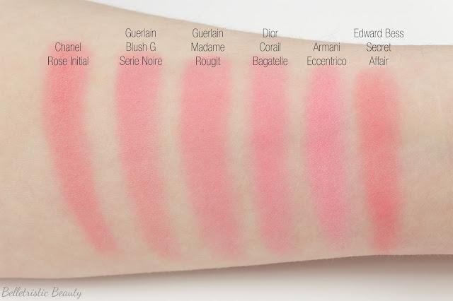 Dior Corail Coral Bagatelle 763 Diorblush Trianon Edition Vibrant Color Powder Blush comparison swatches in studio lighting