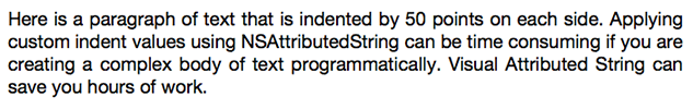Visual Attributed String paragraph indent example.