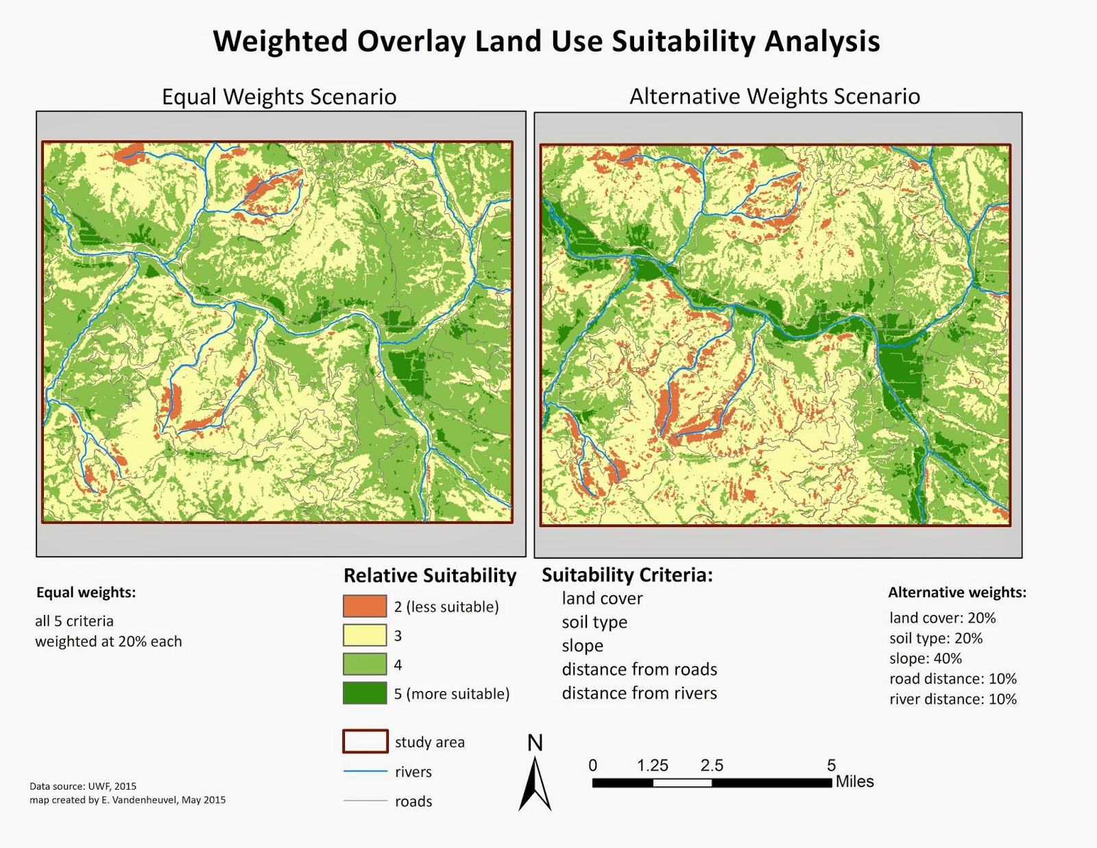 the above is a comparison of two methods of suitability analysis both performed on raster data and both created using a weighted overlay process