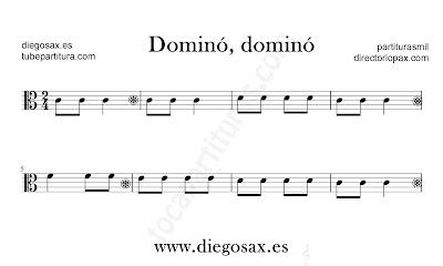 Dominó Dominó partitura para viola en clave de Do