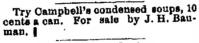 Alton Evening Telegraph (Alton, IL) Advertisement for Campbell's Condensed Soups - 1898-06-28