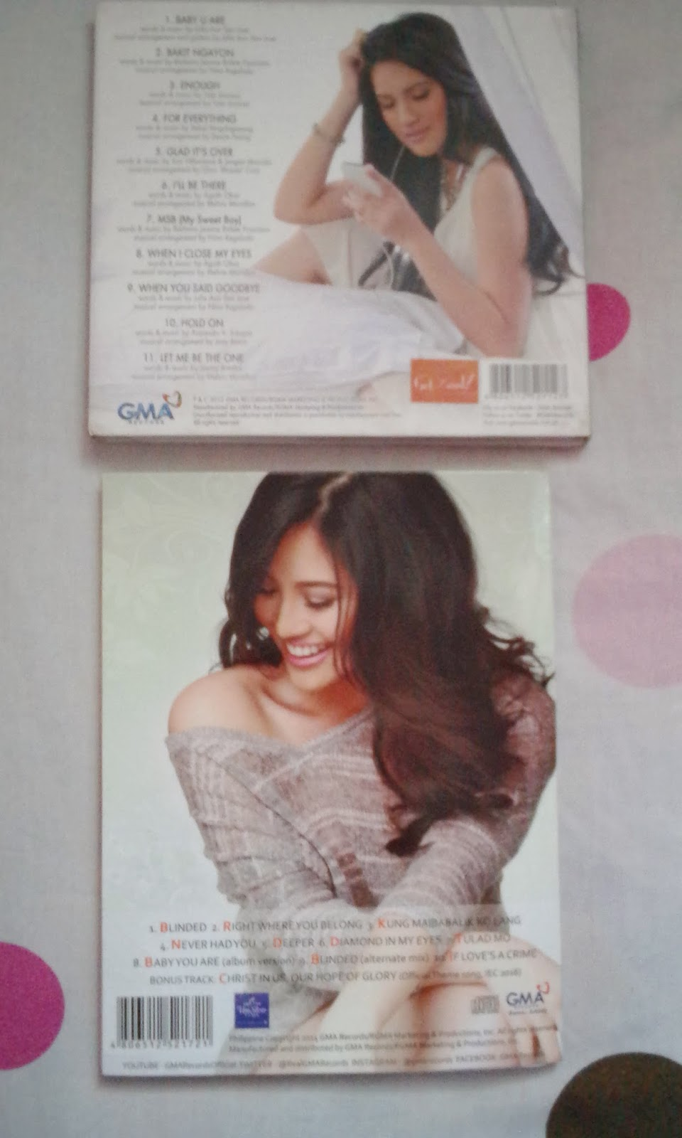 back covers of Julie Anne San Jose and Deeper albums