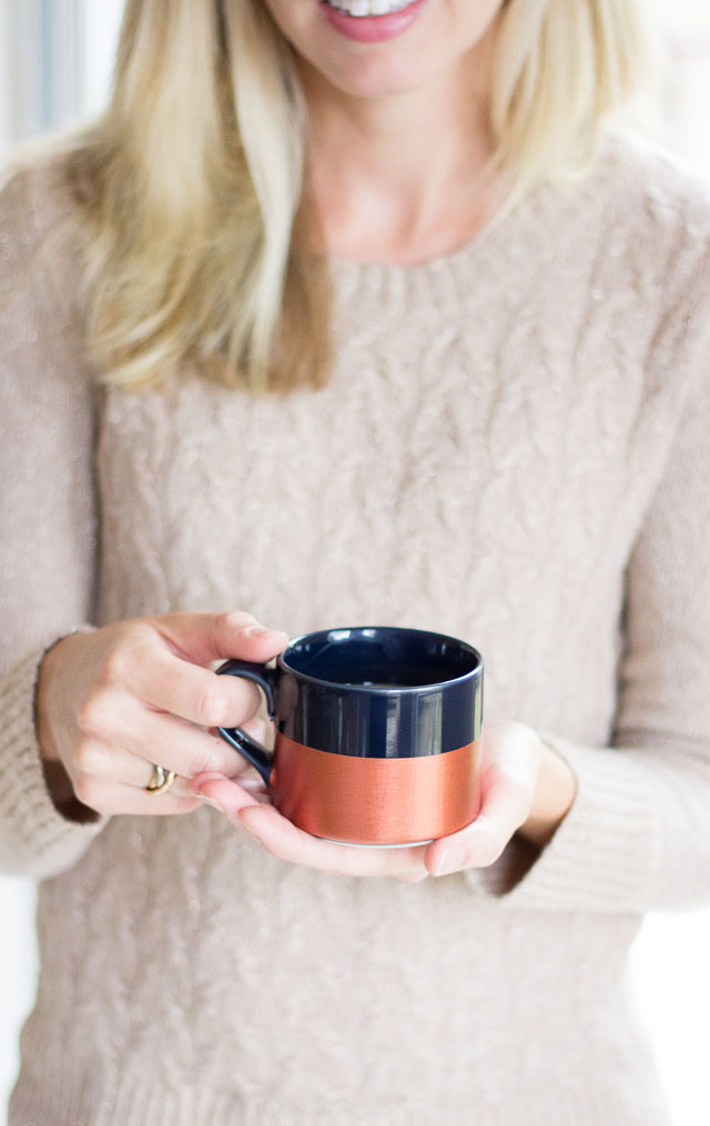 DIY metallic dipped coffee mug
