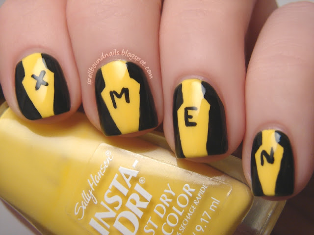 nails nailart nail art mani manicure polish Spellbound Lacquer design freehand ABC Challenge X-Men character First Class uniform costume black yellow L.A. LA Colors Sally Hansen Lightening comic comics Marvel
