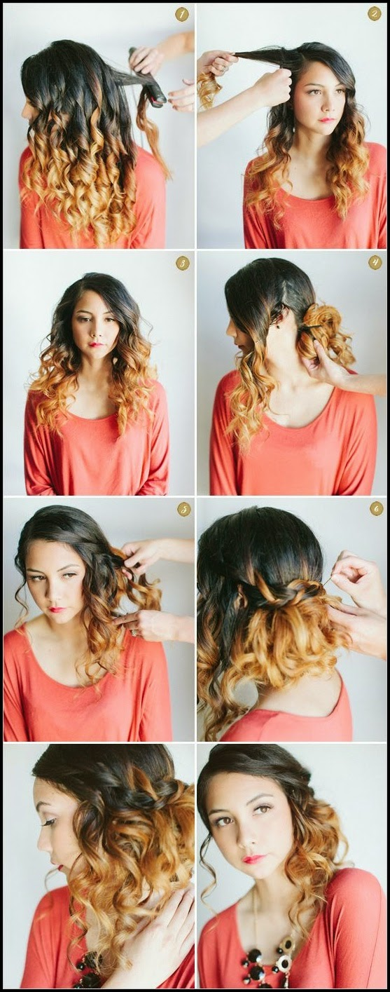 Curly half up hairstyle