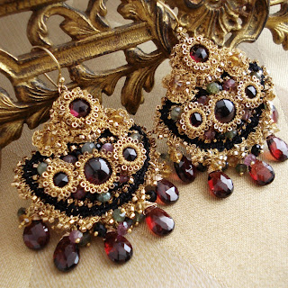 Grecian-style Gold, Garnet Chandelier Earrings