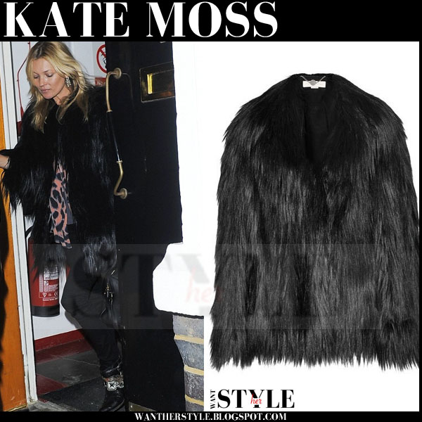 Kate Moss in black faux fur coat stella mccartney what she wore models off duty