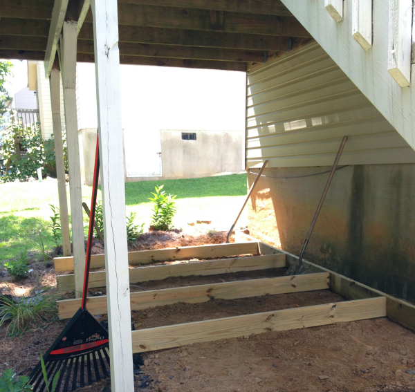 Diy ground level deck update aprons and stilletos for How to build a low deck
