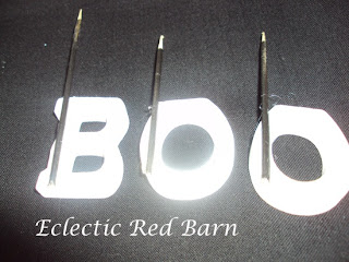 boo letters with skewers attached