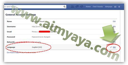 Gambar: Mengubah bahasa utama facebook