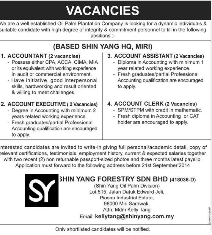 Jawatan Kosong Shin Yang Forestry Accountants