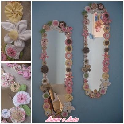 Espelho decorado com fuxico em tecido