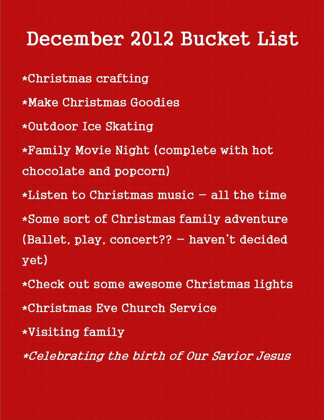 December 2012 Bucket List frazzled JOY