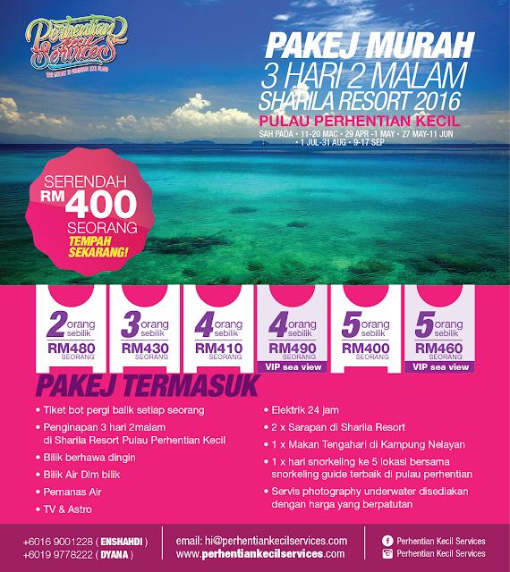 Pakej Pulau Perhentian Besar, Perhentian Kecil 2016 , Pakej Perhentian 2016