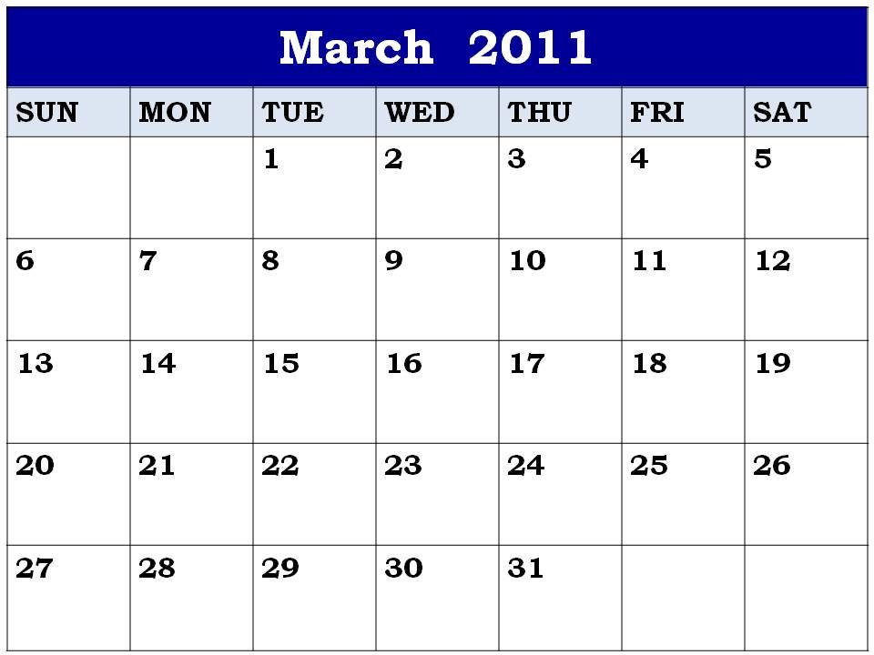 blank march calendar. lank march 2011 calendar