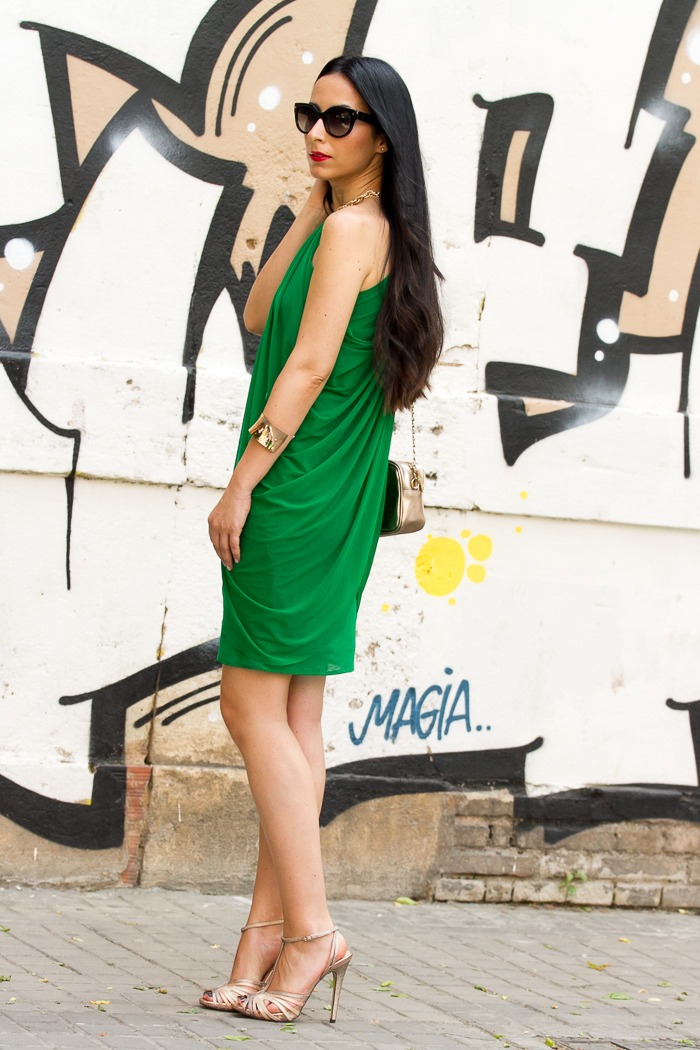 Vestido túnica estilo griego helénico colo verde