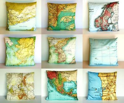 almofadas mapa mundi