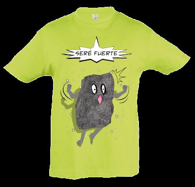 """Camiseta manga corta para niños y niñas """"Como una roca"""" color verde"""