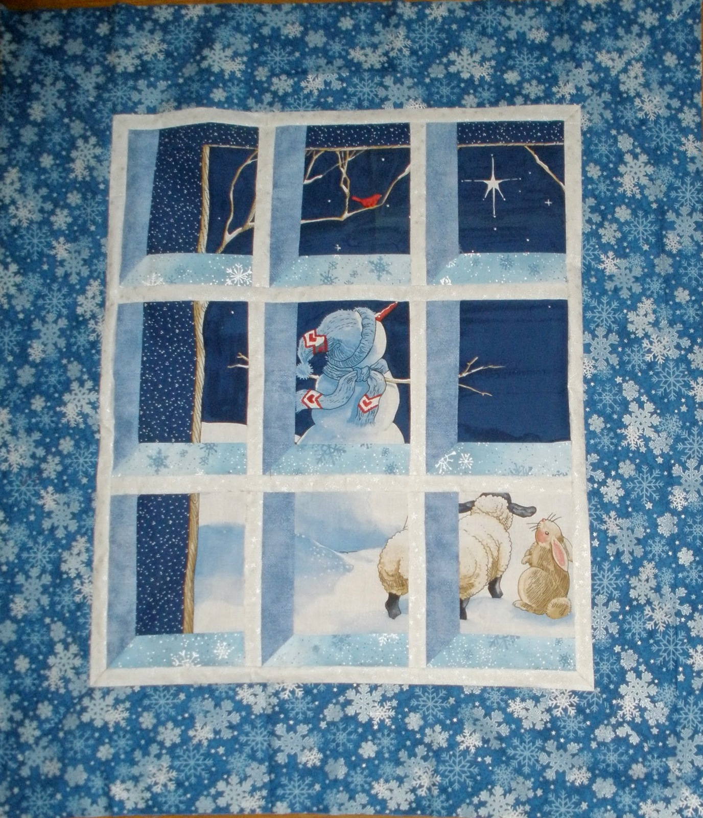 Quilt inspiration free pattern day snowmen and snowflakes for Window pane quilt design