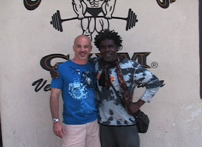 "GARRY ""DR G"" CASACCIO AND ROBBY ROBINSON IN FRONT OF GOLD'S GYM VENICE, CA - DURING MASTER CLASS WITH RR -  4-day one-on-one intensive personal training with ROBBY ROBINSON  in Gold's gym Venice, CA and nutrition & supplementation seminar -  ▶ www.robbyrobinson.net/master-class.php"