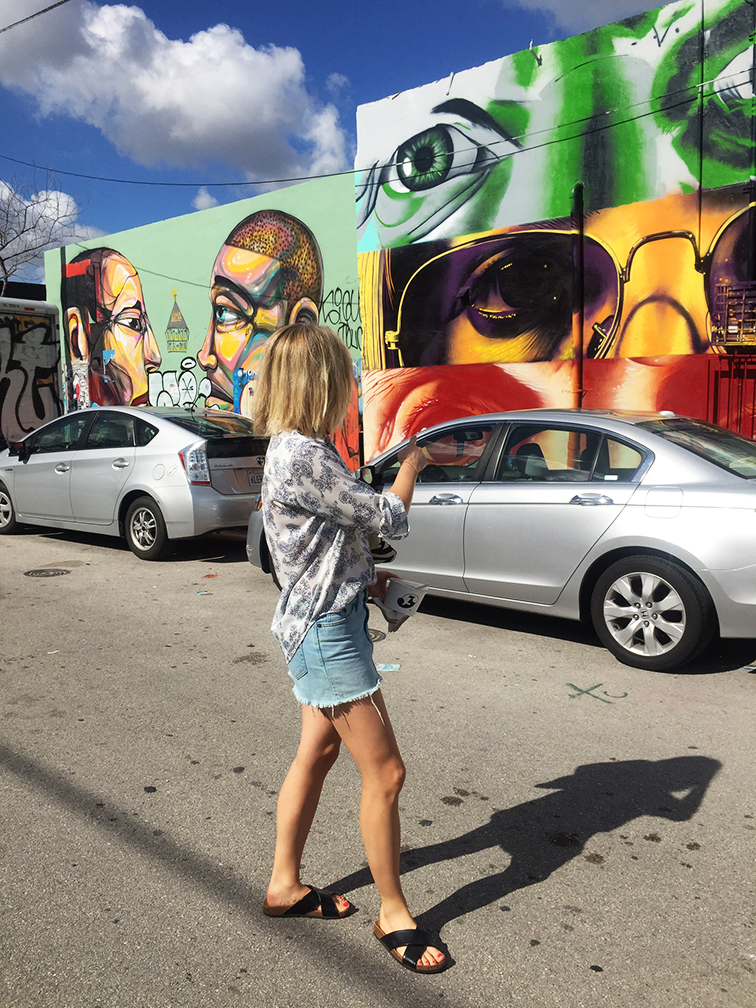 Fashion Over Reason in Wynwood, Miami, street art mural, Ann Taylor paisley blouse, Gap cutoff skirt