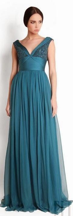 Sea Blue Color Maxi Dress