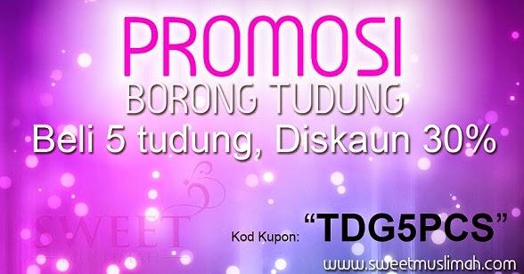 Promosi borong tudung sweet muslimah diskaun 30%