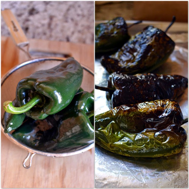 Poblano Chilies -- Before & After Roasting