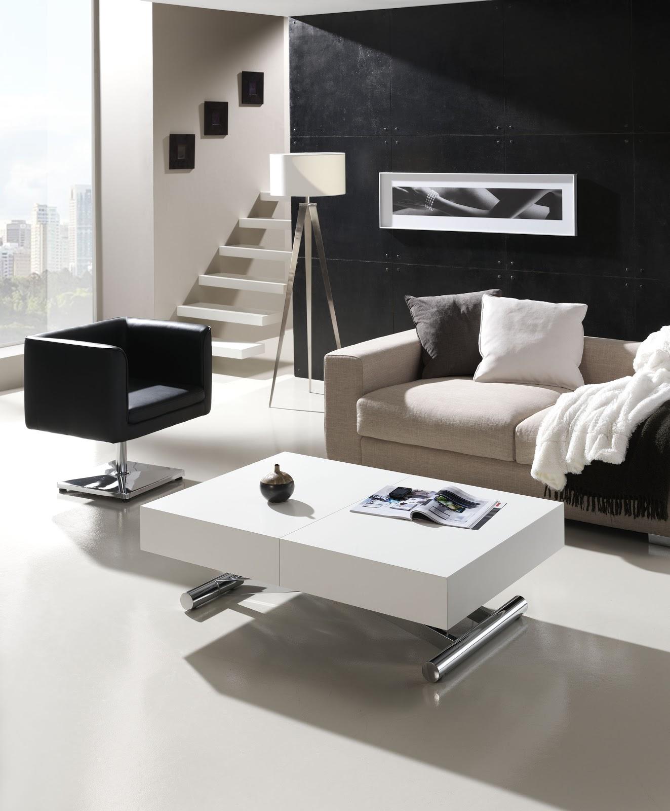 Mesa de centro elevable con mando a distancia y extensible for Mesas para espacios pequenos