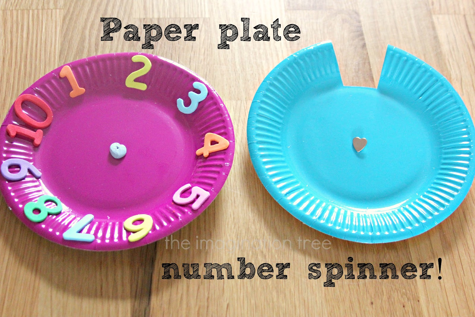 and number recognition using paper plates and foam number stickers