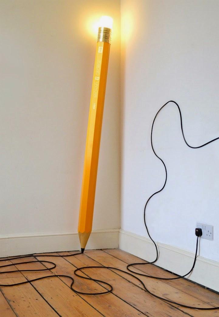 Iluminación creativa, lampara con forma de lápiz