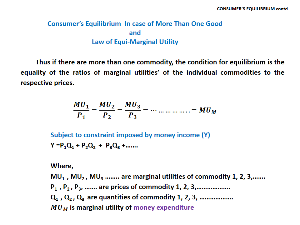 explaining consumer equilibrium through law of equi marginal utility But as you eat through the package what are some examples of the law of diminishing marginal utility from the why is the law of equi marginal utility.