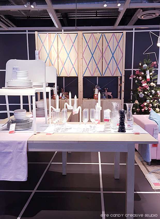 pastel tablescape, pastel christmas, dinign table at IKEA, ornaments