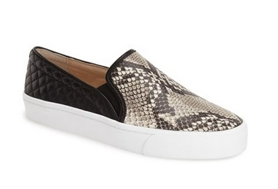 Vince Camuto black and gray snakeskin textured sneakers